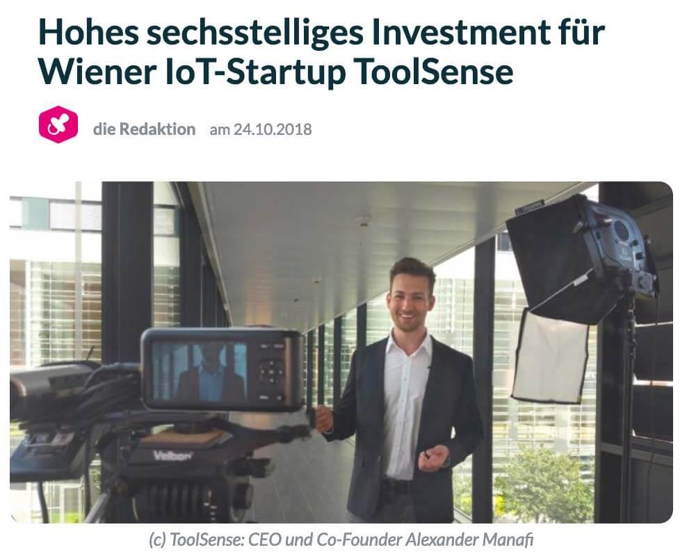 Der Brutkasten: High six-figure investment for Vienna IoT-Startup ToolSense