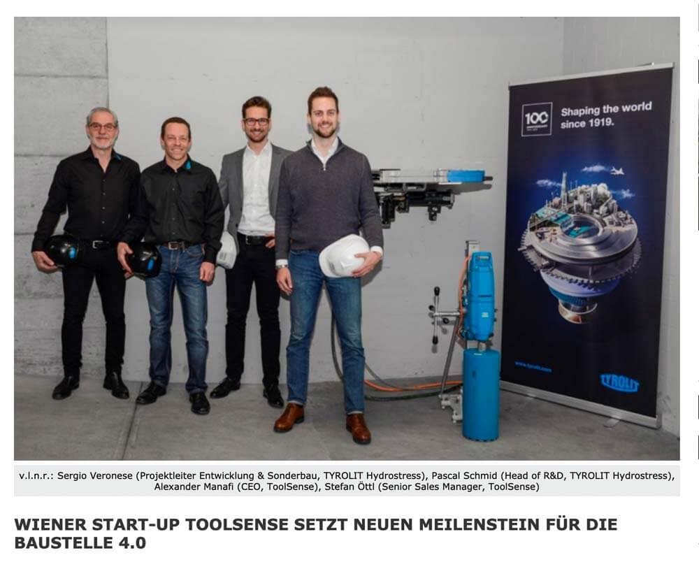 Wirtschaftszeit: Viennese start-up ToolSense sets new milestone for construction site 4.0